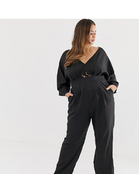 Outrageous Fortune Plus Kimono Top Jumpsuit In Black