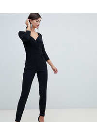City Goddess Tall Long Sleeve Jumpsuit With Embellished Waist Detail