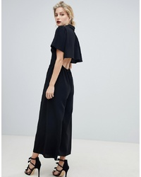 ASOS DESIGN Shirt Tea Jumpsuit With Open Back