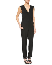 Theory Sibby Sleeveless V Neck Georgette Jumpsuit