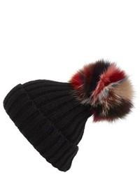 Super swirl knit beanie with genuine fox fur pom blue medium 841064