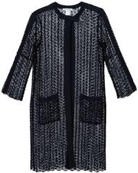 Oscar de la Renta Sequined Open Knit Coat