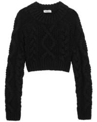 DKNY Open Back Cable Knit Merino Wool Sweater Black