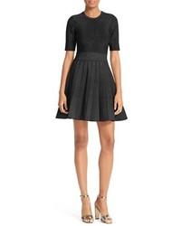 A.L.C. Susana Metallic Knit Fit Flare Dress