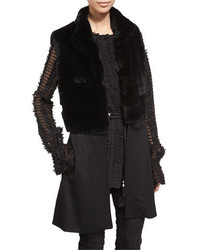 Black Knit Fur Vest
