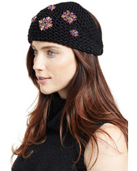 Jennifer Behr Headpieces Embellished Wool Snowdrop Headband Blackpurple
