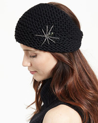 Jennifer Behr Headpieces Embellished Wool Spider Headband Black