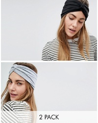 ASOS DESIGN Pack Of 2 Twist Front Headbands