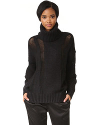 DKNY Oversized Turtleneck Intarsia Sweater