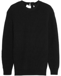 Split back ribbed cotton blend sweater black medium 437028