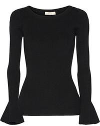 MICHAEL Michael Kors Michl Michl Kors Ribbed Stretch Knit Sweater Black