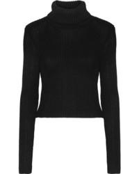 Alice + Olivia Sierra Ribbed Stretch Knit Turtleneck Sweater Black