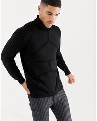 G Star Suzaki Pro Ribbed Knit Roll Neck Jumper In Black