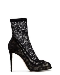 Dolce & Gabbana Black 110 Lace Peep Toe Ankle Boots