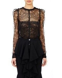 Black Lace Button Down Blouse