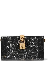 Lace and perspex box clutch black medium 696379
