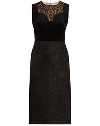 Lanvin Lace Panelled Velvet Dress