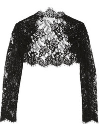 Oscar de la Renta Cropped Cotton Blend Corded Lace Jacket Black