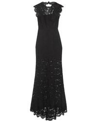 Rachel Zoe Estelle Open Back Lace Gown Black