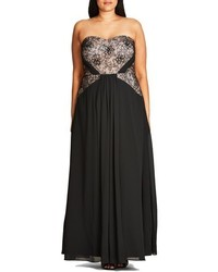 3ae149dfbc2c City Chic Plus Size Sofia Lace Bodice Strapless Gown