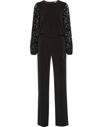 MICHAEL Michael Kors Michl Michl Kors Guipure Lace Paneled Stretch Jersey Jumpsuit Black