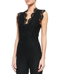 Rachel Zoe Reesa Scalloped Lace Jumpsuit Black
