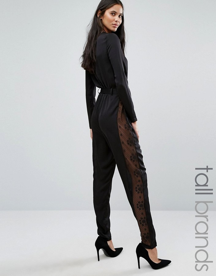 cb28f92a9e6 ... Yas Tall Lacey Long Sleeve Jumpsuit With Lace Side Panels ...