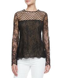 Black Lace Long Sleeve Blouse