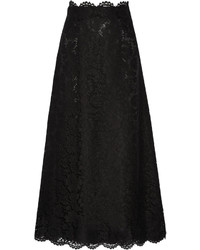 Valentino Guipure Lace Maxi Skirt Black
