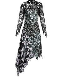 Self-Portrait Asymmetric Hem Lace Midi Dress