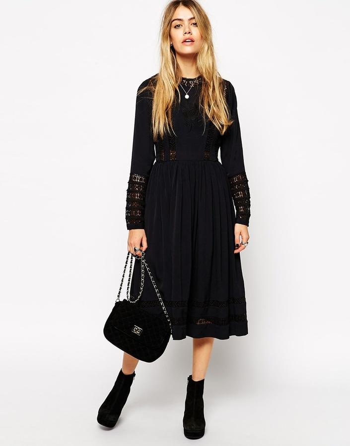 04b2da9306 ... Black Lace Midi Dresses Asos Collection Premium Midi Skater Dress With  Crochet Insert ...