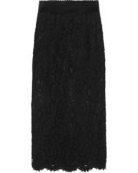 Dolce & Gabbana Corded Lace Midi Skirt Black
