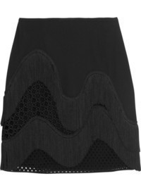 Stella McCartney Corinna Fringed Crepe And Wicker Lace Mini Skirt