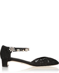 Dolce & Gabbana Embellished Corded Lace And Mesh Pumps