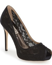 Badgley Mischka Nerissa Lace Peep Toe Pump