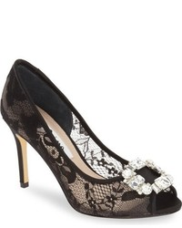 Nina Rhodes Crystal Embellished Lace Pump
