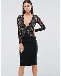 Rare London Pencil Dress With Scallop Lace Bodice And Sleeve