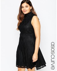 Asos Curve Lace Skater Dress With High Neck