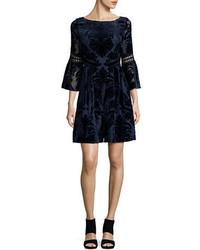 Eliza J Embroidered Poet Sleeve Dress