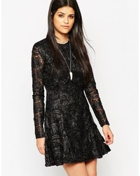 Rock & Religion Long Sleeve Lace Skater Dress With High Neck