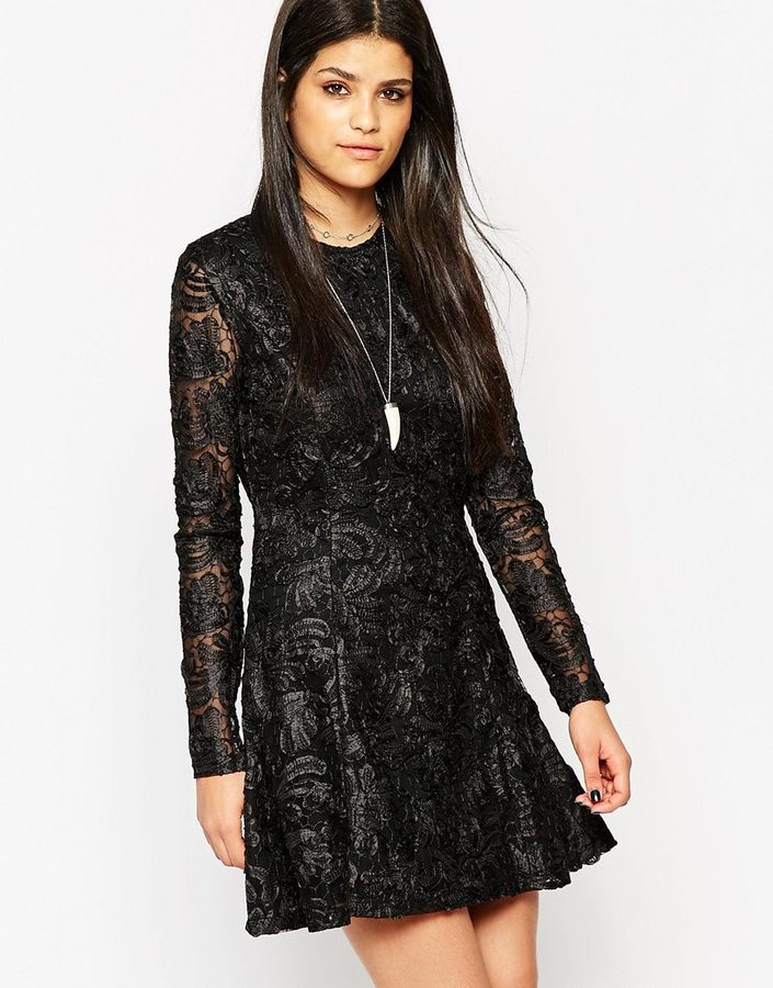 28d6c1bc5833 Rock & Religion Long Sleeve Lace Skater Dress With High Neck, £121 ...