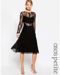 Asos Petite Midi Lace Skater Dress With Cut Outs