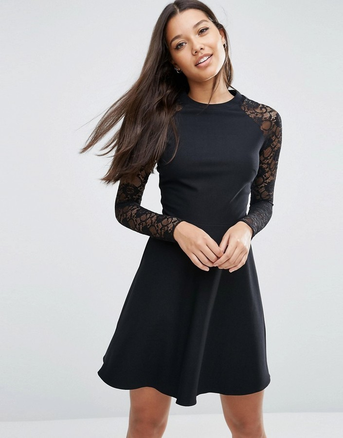 ... Black Lace Skater Dresses Asos Skater Dress With Lace Sleeves ... 852968593