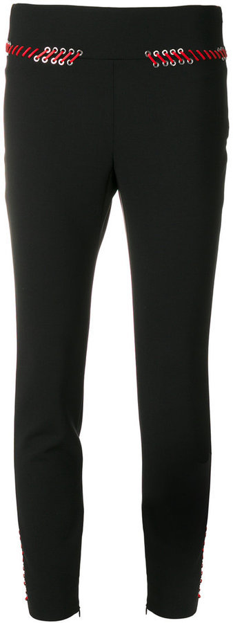Alexander McQueen Lace Trim Skinny Trousers