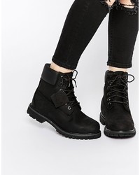 Timberland 6 Inch Premium Black Lace Up Flat Boots