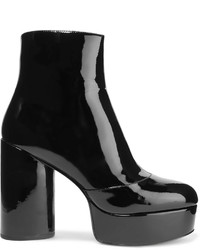 Marc Jacobs Amber Patent Leather Platform Ankle Boots Black