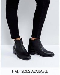Asos Ample Leather Zip Ankle Boots