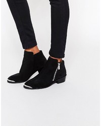 Asos Ashton Leather Zip Ankle Boots
