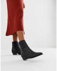 ASOS DESIGN Austin Leather Woven Boots