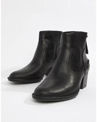 UGG Bandara Mid Heel Ankle Boot In Black Leather